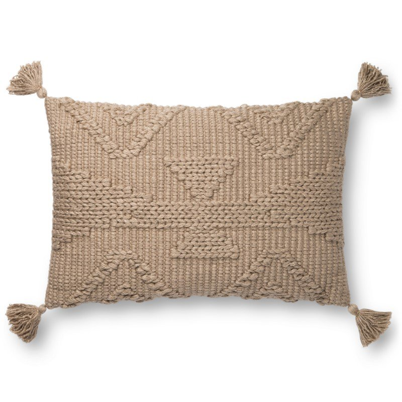 "Loloi P0828 Pillow 16"" x 26"" Cover Only in Taupe (P013P0828TA00PI15)"