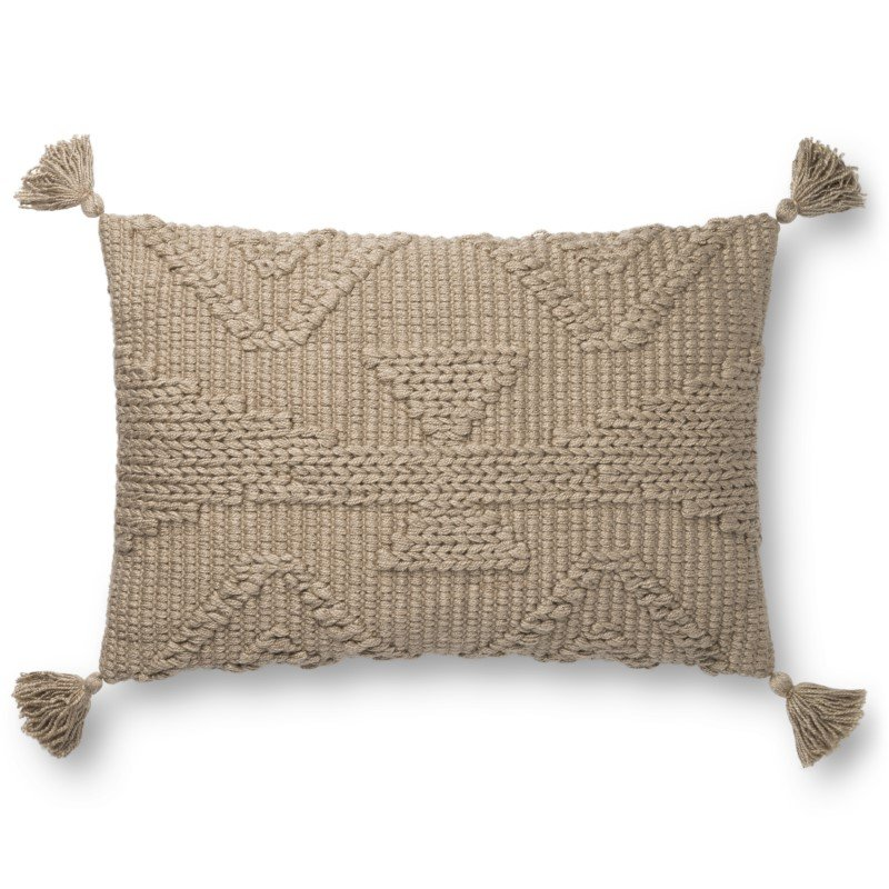 """Loloi P0828 Pillow 16"""" x 26"""" Cover with Poly in Taupe (PSETP0828TA00PI15)"""