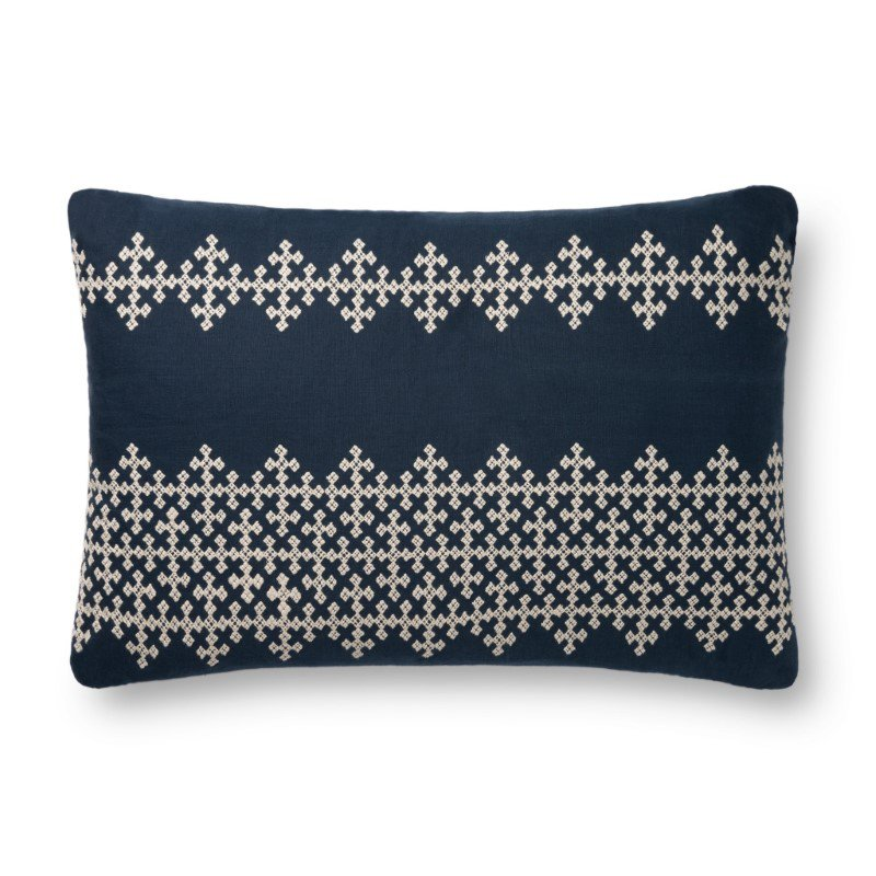 """Loloi P0833 Pillow 16"""" x 26"""" Cover Only in Navy and Ivory (P112P0833NVIVPI15)"""
