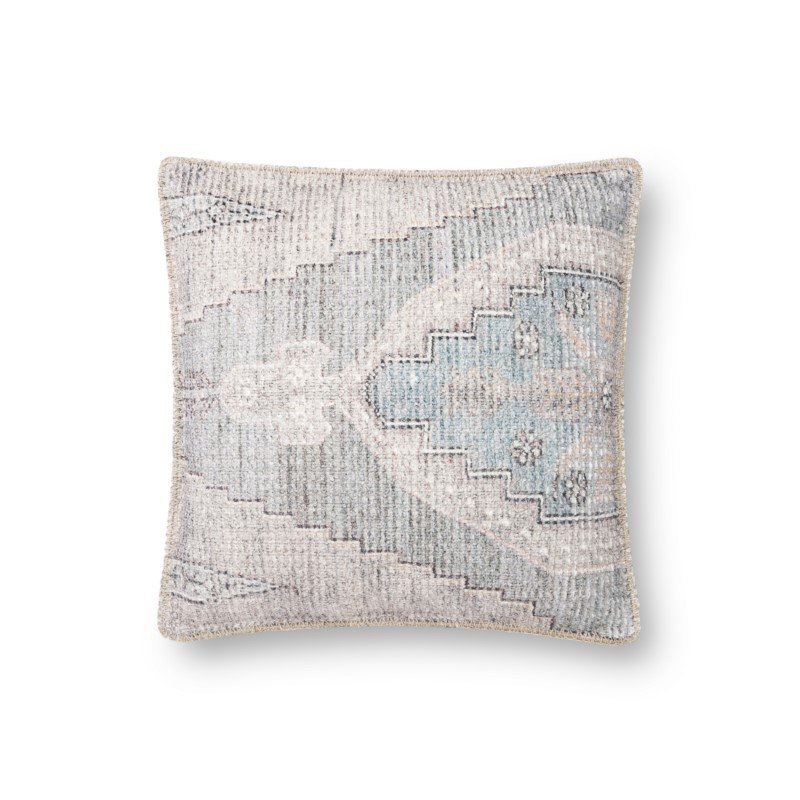 """Loloi P0846 18"""" x 18"""" Square Pillow Cover with Poly in Blue and Grey (PSETP0846BBGYPIL1)"""