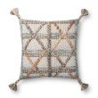 """Loloi P0858 18"""" x 18"""" Square Pillow Cover with Down in Grey and Multi (DSETP0858GYMLPIL1)"""
