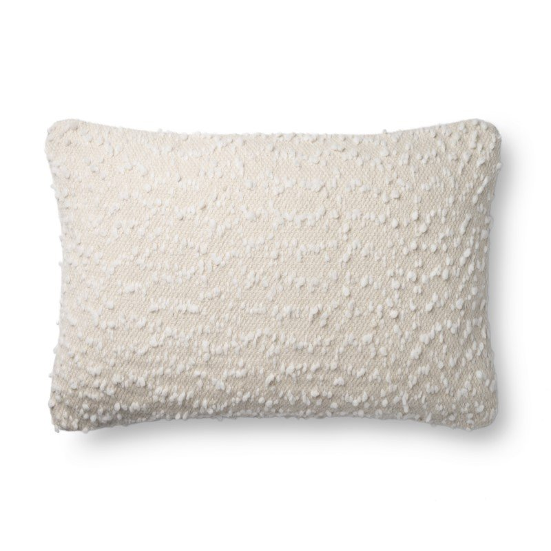 "Loloi P0859 16"" x 26"" Rectangle Pillow Cover Only in Ivory and White (P218P0859IVWHPI15)"