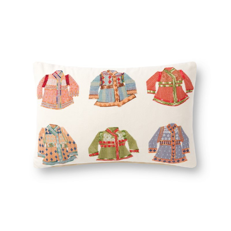 """Loloi P0870 13"""" x 21"""" Rectangle Pillow Cover with Poly in Natural and Multi (PSETP0870NAMLPIL5)"""
