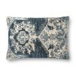 """Loloi P0879 16"""" x 26"""" Rectangle Pillow Cover with Down in Blue (DSETP0879BB00PI15)"""