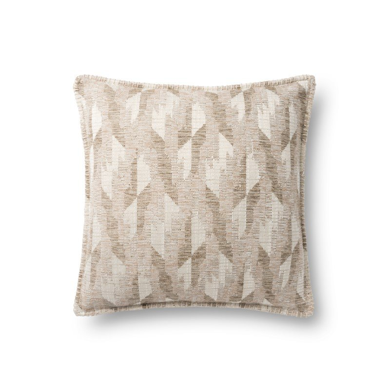 """Loloi P0889 18"""" x 18"""" Square Pillow Cover with Poly in Beige (PSETP0889BE00PIL1)"""