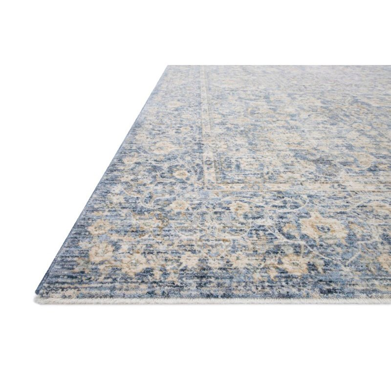 "Loloi Pandora PAN-01 Traditional Power Loomed 1' 6"" x 1' 6"" Sample Square Rug in Blue and Gold (PANDPAN-01BBGO160S)"