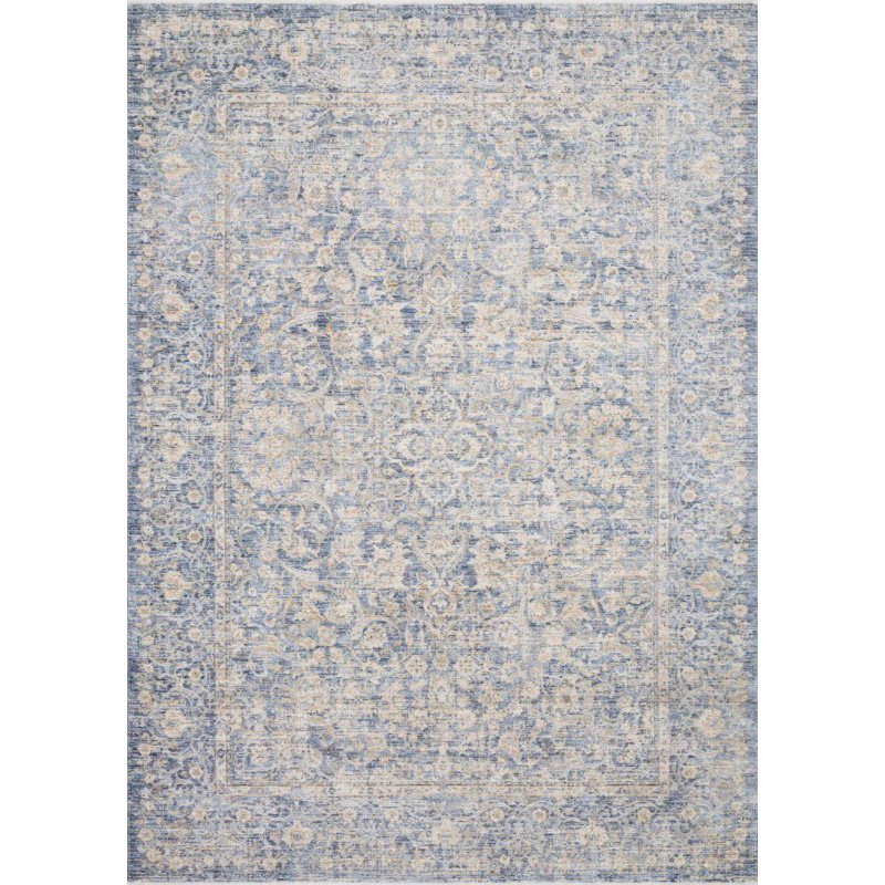 """Loloi Pandora PAN-01 Traditional Power Loomed 6' 3"""" x 8' 10"""" Rectangle Rug in Blue and Gold (PANDPAN-01BBGO638A)"""