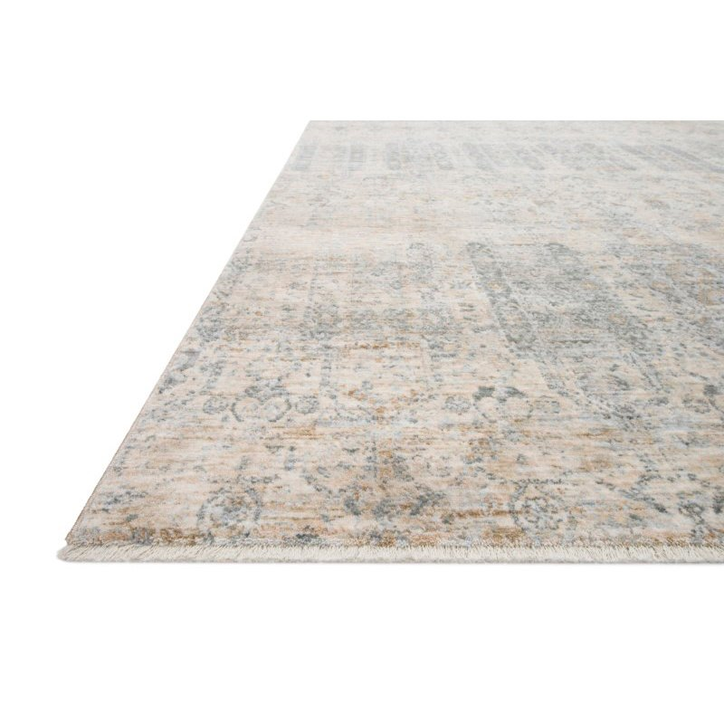 """Loloi Pandora PAN-02 Traditional Power Loomed 1' 6"""" x 1' 6"""" Sample Square Rug in Ivory and Mist (PANDPAN-02IVMI160S)"""