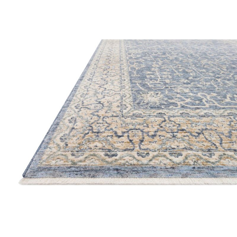 """Loloi Pandora PAN-04 Traditional Power Loomed 9' 6"""" x 12' 5"""" Rectangle Rug in Dark Blue and Ivory (PANDPAN-04XDIV96C5)"""