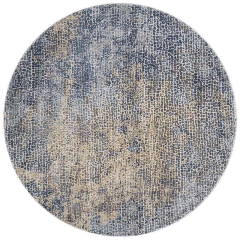 "Loloi Patina PJ-05 5' 3"" Round Rug in Ocean and Gold (PATIPJ-05OCGO530R)"