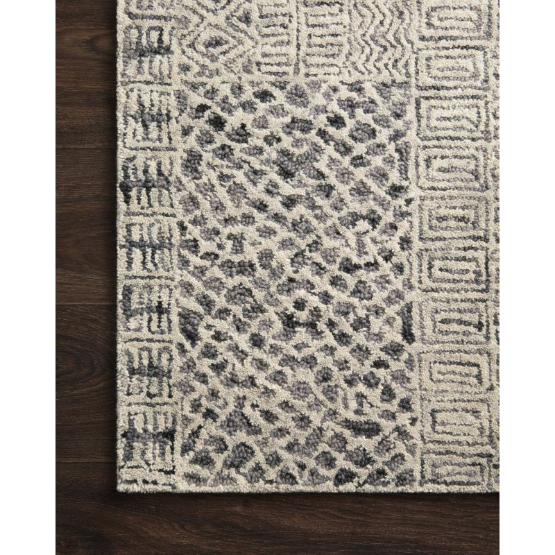 "Loloi Peregrine PER-06 Contemporary Hand Tufted 1' 6"" x 1' 6"" Sample Square Rug in Charcoal (PEREPER-06CC00160S)"