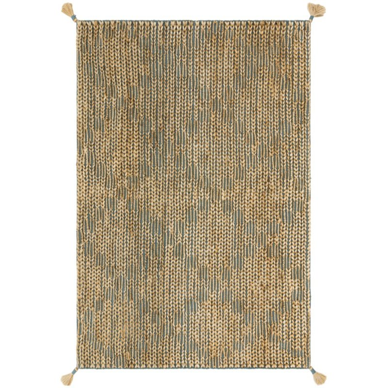 """Loloi Playa PLY-02 Contemporary Hand Woven 2' 3"""" x 3' 9"""" Rectangle Rug in Aqua and Natural (PLAYPLY-02AQNA2339)"""