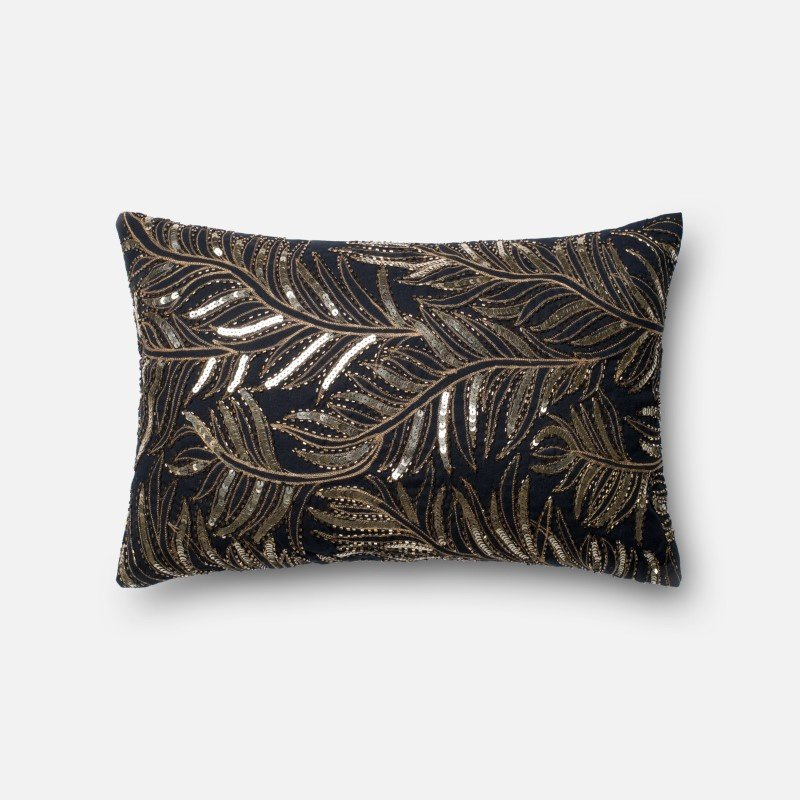 """Loloi Poly Set Collection P0195 Pillow 13"""" x 21"""" Cover with Poly in Black and Gold"""