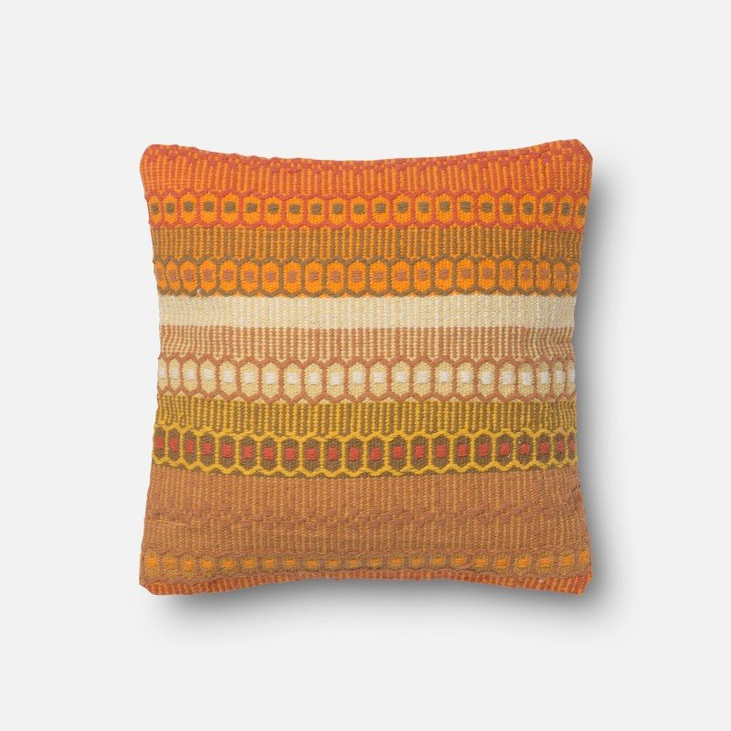 """Loloi Poly Set Collection URO03 Pillow 18"""" x 18"""" Cover with Poly in Orange"""