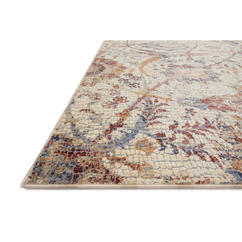 """Loloi Porcia PB-03 1' 6"""" x 1' 6"""" Square Rug in Ivory and Multi (PORCPB-03IVML160S)"""