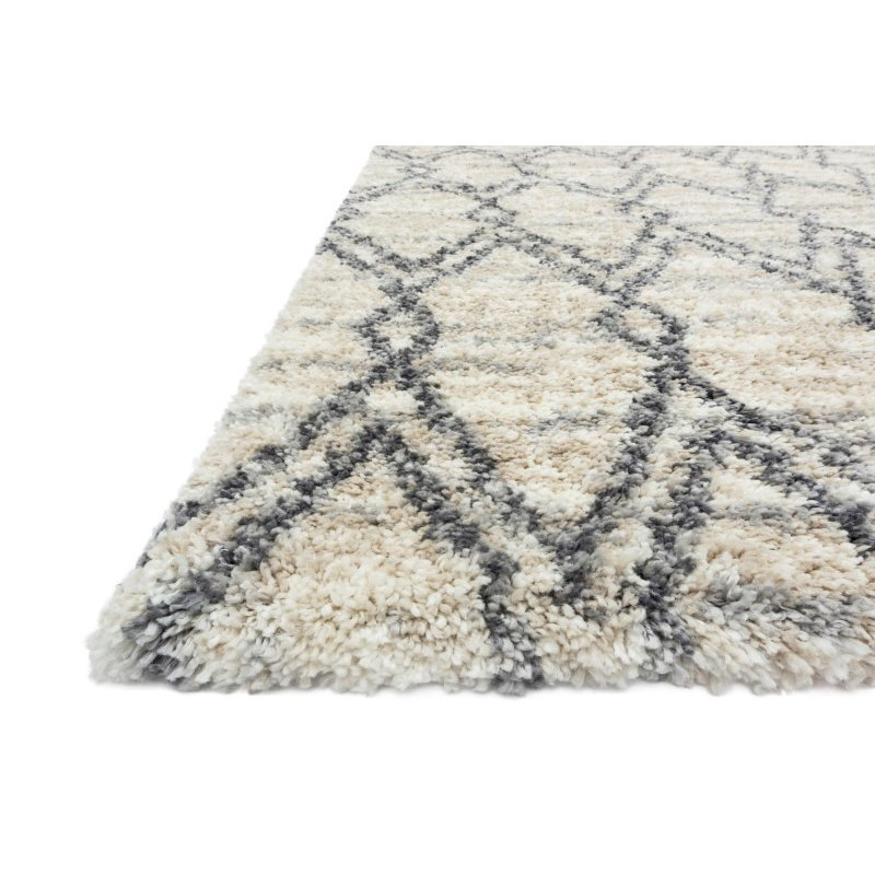 "Loloi Quincy QC-04 Shags Rectangle Rug 8' 10"" x 12' in Sand and Graphite (QNCYQC-04SAGT8AC0)"