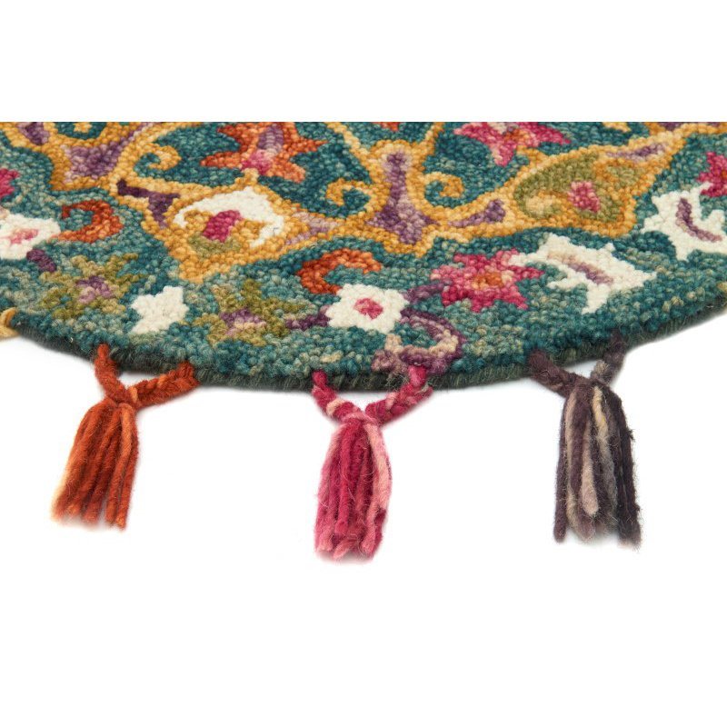 Loloi Remy RU-05 3' Round Rug in Peacock and Gold (REMYRU-05PXGO300R)