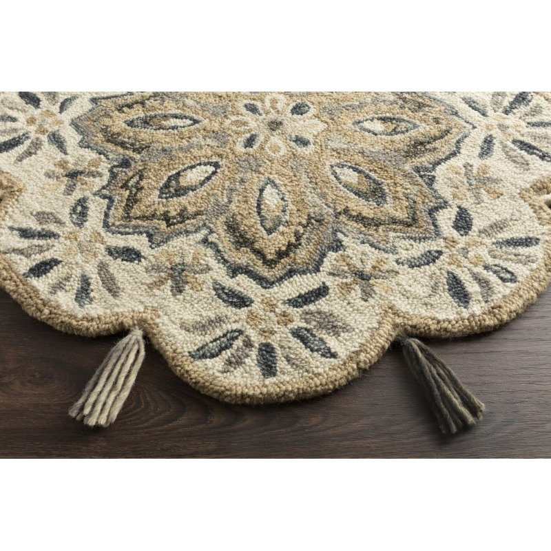 Loloi Remy RU-12 Transitional Hooked 3' x 3' Round Rug in Ivory and Sand (REMYRU-12IVSA300R)
