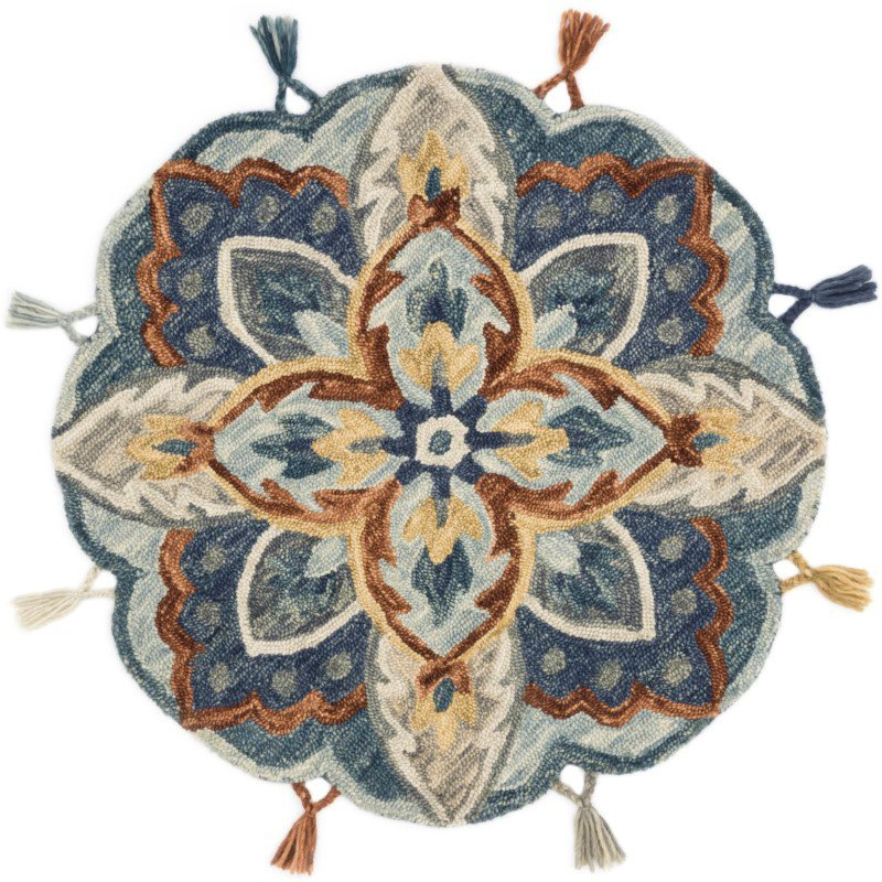 Loloi Remy RU-17 Transitional Hooked 3' x 3' Round Rug in Blue and Multi (REMYRU-17BBML300R)