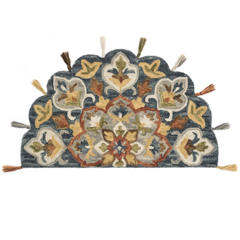 """Loloi Remy RU-19 Transitional Hooked 2' 3"""" x 3' 9"""" Hearth Rug in Slate and Multi (REMYRU-19SLML234H)"""