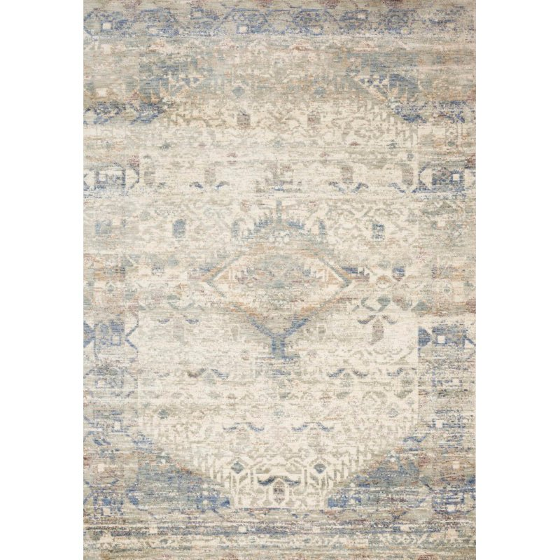 """Loloi Revere REV-06 Traditional 1' 6"""" x 1' 6"""" Sample Swatch Square Rug in Ivory and Blue (REVRREV-06IVBB160S)"""