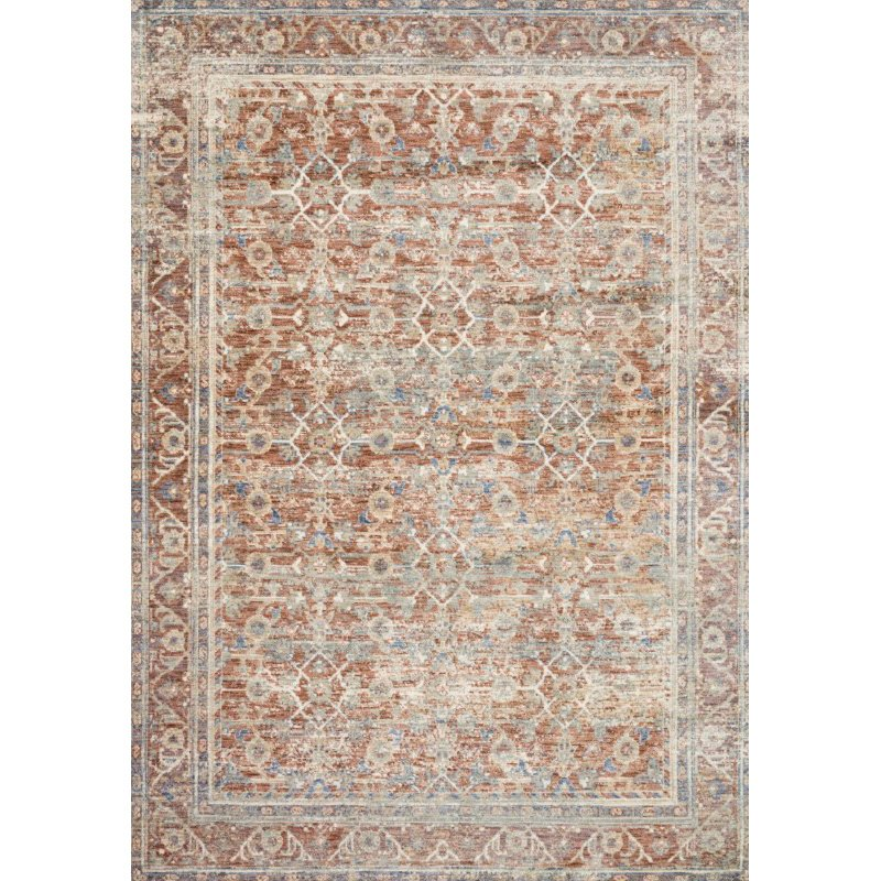 "Loloi Revere REV-07 Traditional 7' 10"" x 7' 10"" Round Rug in Terracotta and Multi (REVRREV-07TCML7A0R)"