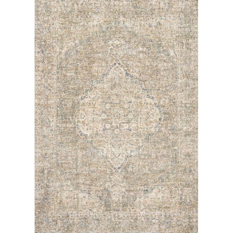 "Loloi Revere REV-08 Traditional 7' 10"" x 7' 10"" Round Rug in Granite and Blue (REVRREV-08GNBB7A0R)"