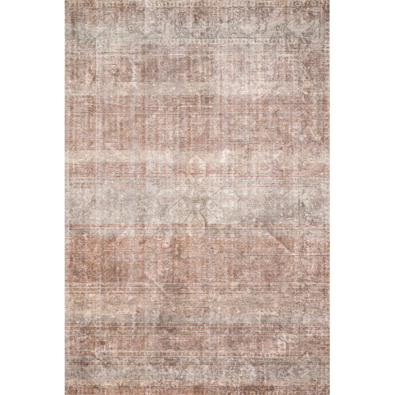 """Loloi Rumi RUM-02 Traditional 1' 6"""" x 1' 6"""" Sample Swatch Square Rug in Clay and Stone (RUMIRUM-02CGSN160S)"""