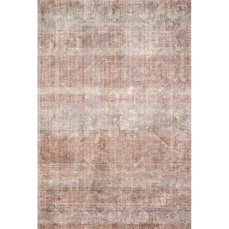 "Loloi Rumi RUM-02 Traditional 3' 6"" x 5' 6"" Rectangle Rug in Clay and Stone (RUMIRUM-02CGSN3656)"