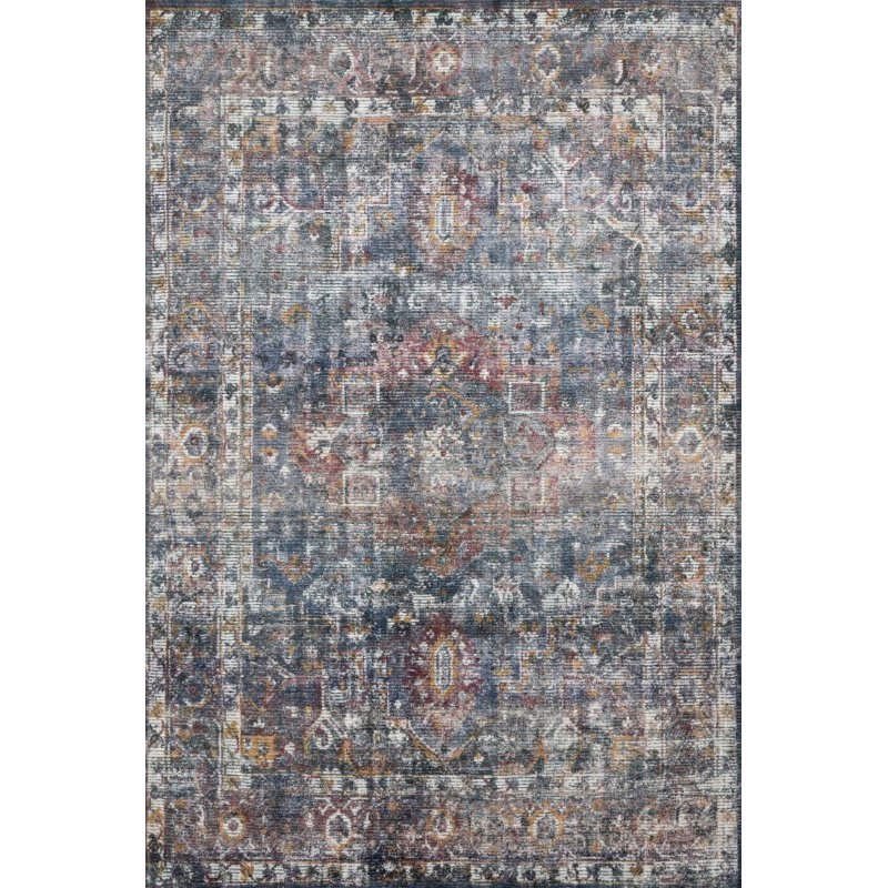 """Loloi Rumi RUM-04 Traditional 1' 6"""" x 1' 6"""" Sample Swatch Square Rug in Navy and Multi (RUMIRUM-04NVML160S)"""
