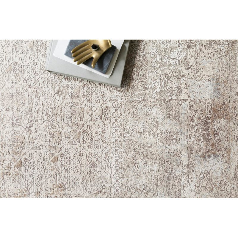 "Loloi Sienne SIE-01 Contemporary Power Loomed 7' 10"" x 10' 10"" Rectangle Rug in Ivory and Pebble (SIENSIE-01IVPP7AAA)"