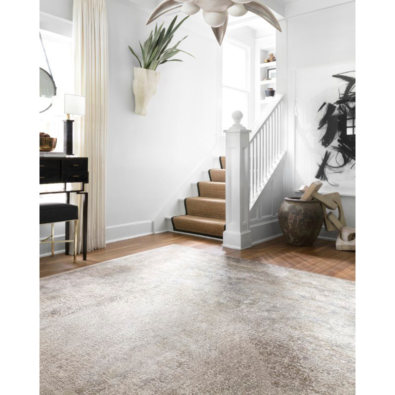 "Loloi Sienne SIE-01 Contemporary Power Loomed 9' 2"" x 12' Rectangle Rug in Ivory and Pebble (SIENSIE-01IVPP92C0)"
