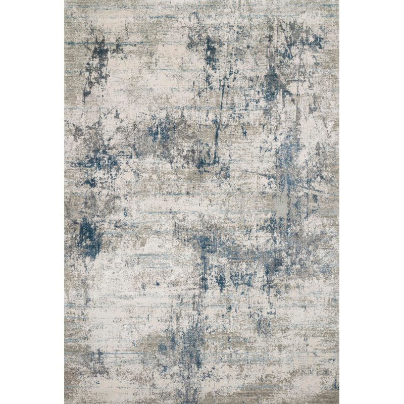 "Loloi Sienne SIE-02 Contemporary Power Loomed 6' 7"" x 9' 2"" Rectangle Rug in Ivory and Ocean (SIENSIE-02IVOC6792)"