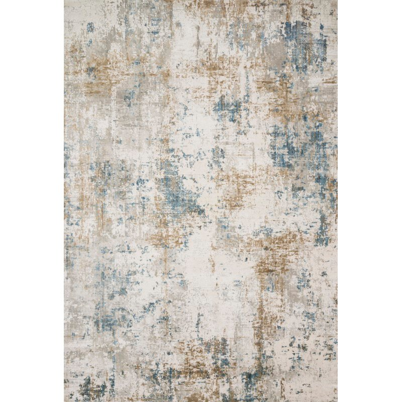 """Loloi Sienne SIE-04 Contemporary Power Loomed 2' 7"""" x 10' Runner Rug in Ivory and Gold (SIENSIE-04IVGO27A0)"""
