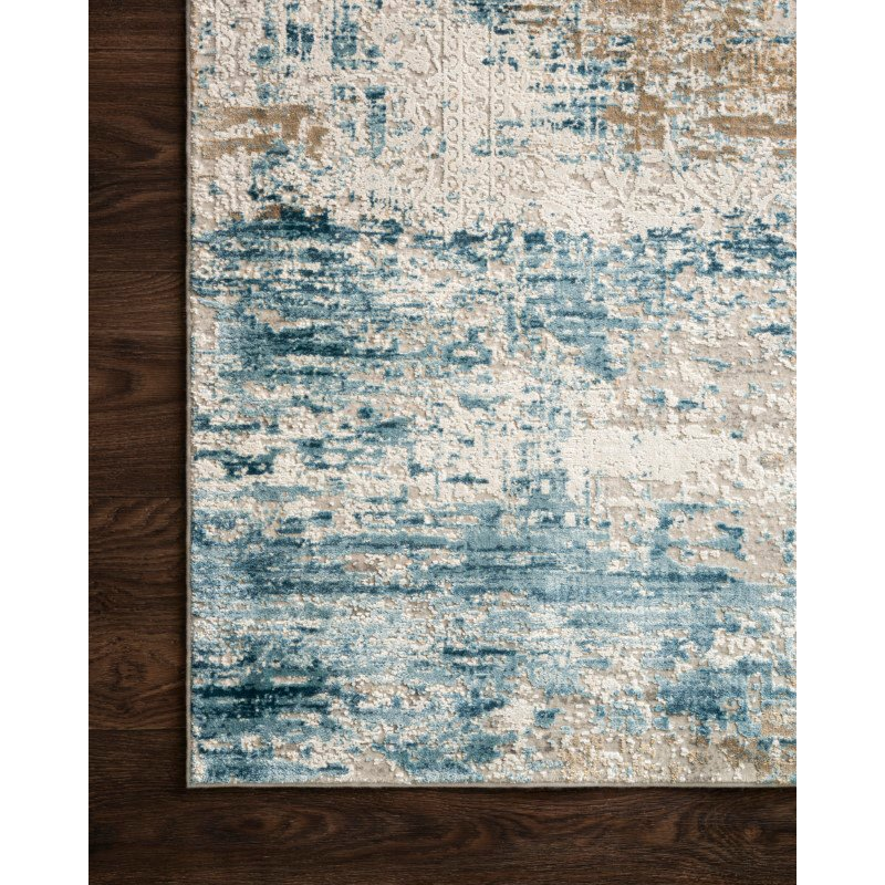 """Loloi Sienne SIE-05 Contemporary Power Loomed 1' 6"""" x 1' 6"""" Sample Square Rug in Ivory and Azure (SIENSIE-05IVAZ160S)"""