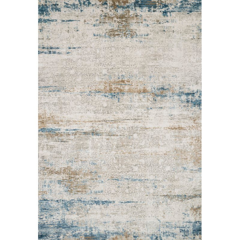 "Loloi Sienne SIE-05 Contemporary Power Loomed 2' 7"" x 10' Runner Rug in Ivory and Azure (SIENSIE-05IVAZ27A0)"