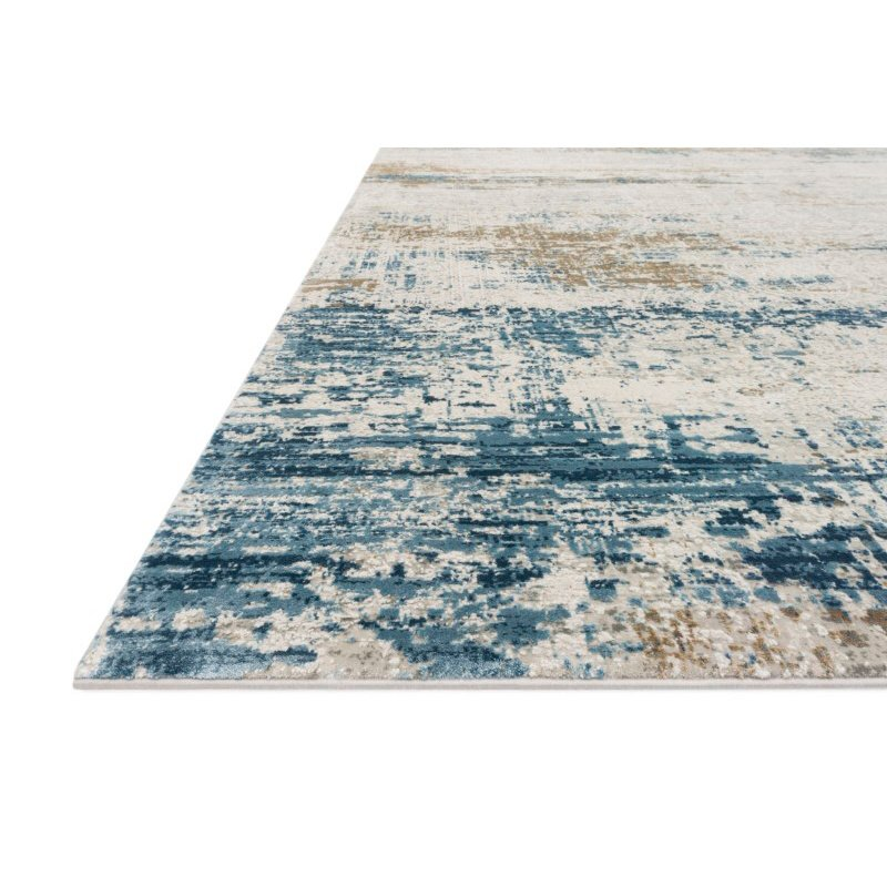 "Loloi Sienne SIE-05 Contemporary Power Loomed 2' 7"" x 8' Runner Rug in Ivory and Azure (SIENSIE-05IVAZ2780)"