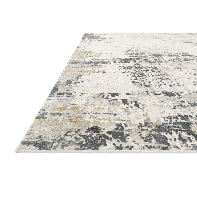 "Loloi Sienne SIE-07 Contemporary Power Loomed 1' 6"" x 1' 6"" Sample Swatch Rug in Ivory and Granite (SIENSIE-07IVGN160S)"