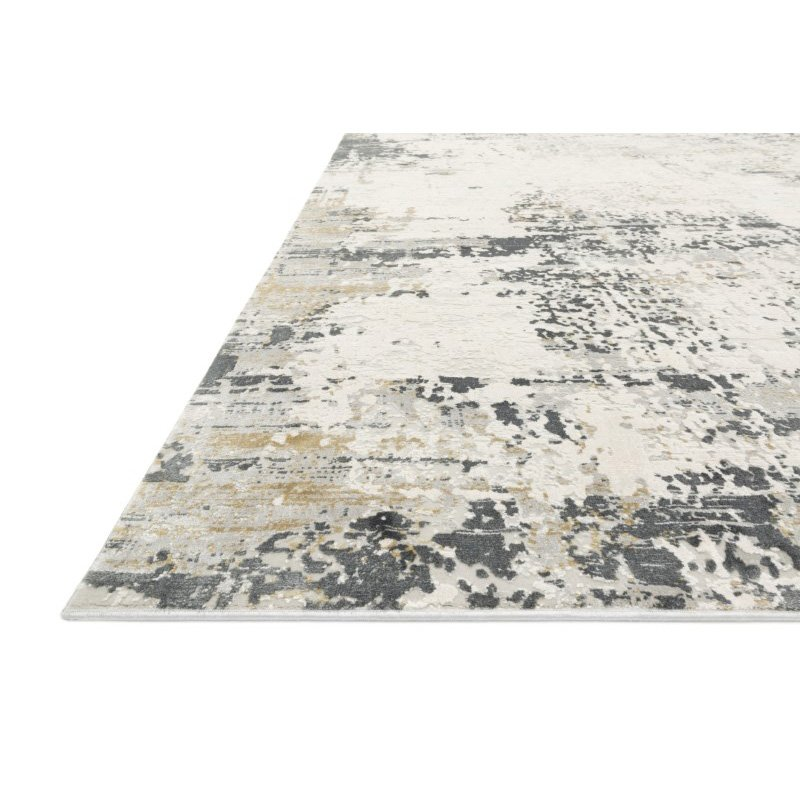 """Loloi Sienne SIE-07 Contemporary Power Loomed 5' 3"""" x 7' 8"""" Rectangle Rug in Ivory and Granite (SIENSIE-07IVGN5378)"""