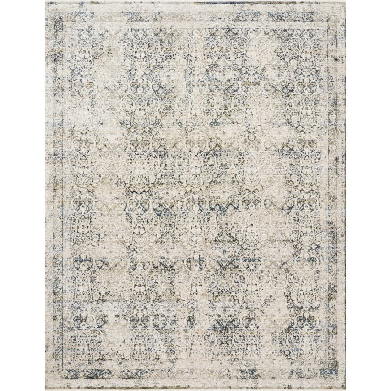 "Loloi Theia THE-01 Traditional Power Loomed 2' 10"" x 8' Runner Rug in Natural and Ocean (THEITHE-01NAOC2A80)"