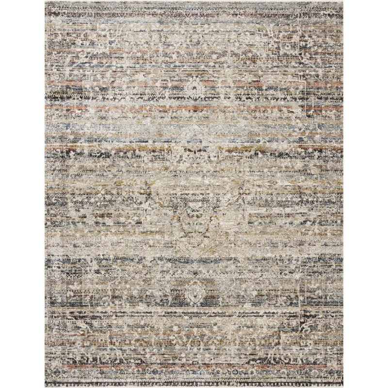 "Loloi Theia THE-03 Traditional Power Loomed 1' 6"" x 1' 6"" Sample Swatch Rug in Taupe and Multi (THEITHE-03TAML160S)"