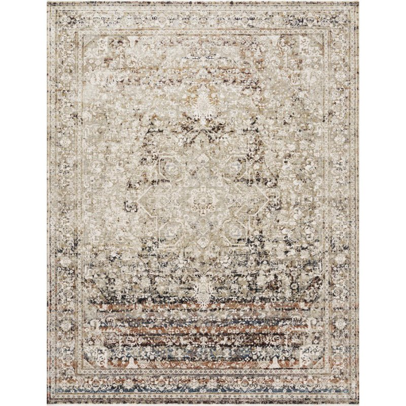 """Loloi Theia THE-05 Traditional Power Loomed 3' 7"""" x 5' 2"""" Rectangle Rug in Taupe and Brick (THEITHE-05TABK3752)"""