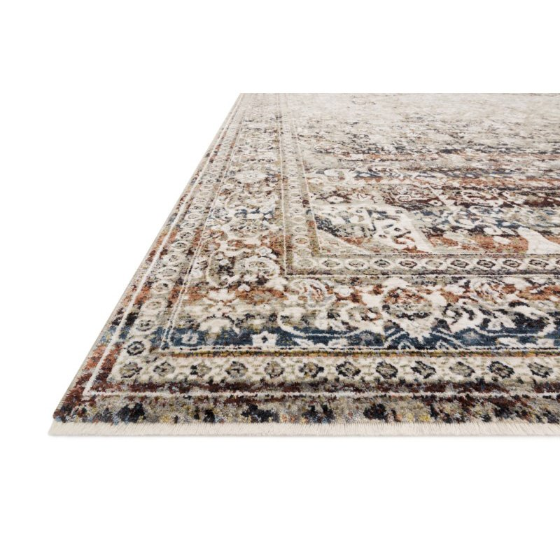 """Loloi Theia THE-05 Traditional Power Loomed 7' 10"""" Round Rug in Taupe and Brick (THEITHE-05TABK7A0R)"""