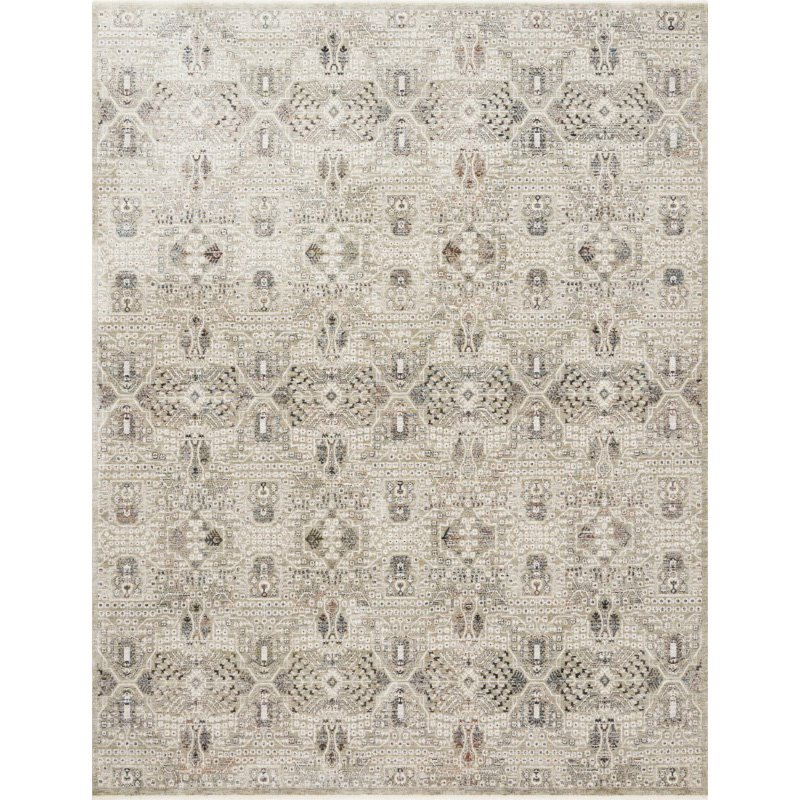 """Loloi Theia THE-06 Traditional Power Loomed 6' 7"""" x 9' 6"""" Rectangle Rug in Granite and Ivory (THEITHE-06GNIV6796)"""