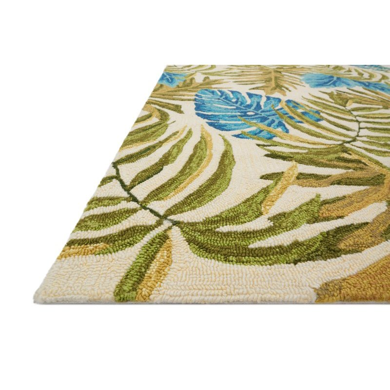 "Loloi Venice Beach VB-23 1' 6"" x 1' 6"" Square Rug in Ivory and Green (VENIVB-23IVGR160S)"