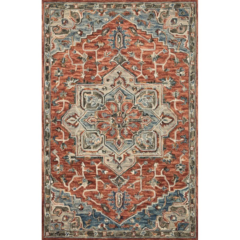 """Loloi Victoria VK-15 Traditional 1' 6"""" x 1' 6"""" Sample Swatch Square Rug in Red and Multi (VITRVK-15REML160S)"""
