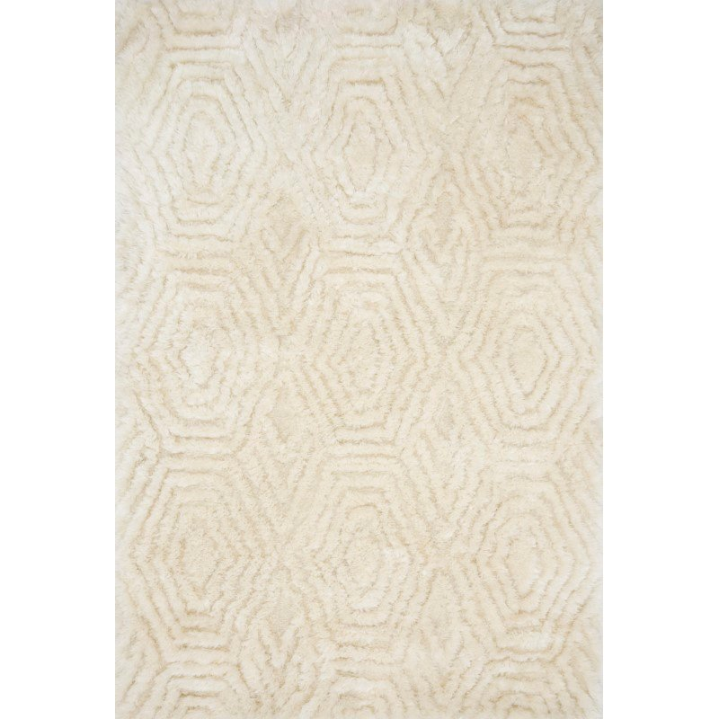 "Loloi x Justina Blakeney Collection CAP-01 Caspia Shags 3' 6"" x 5' 6"" Rectangle Rug in Ivory (CAPPCAP-01IV003656)"