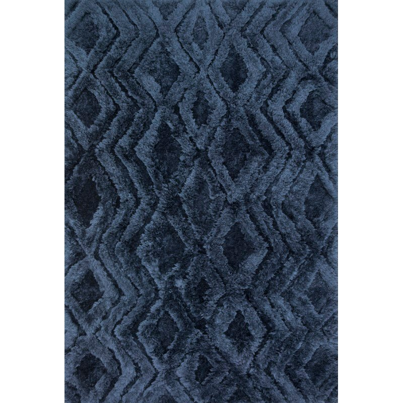 "Loloi x Justina Blakeney Collection CAP-03 Caspia Shags 1' 6"" x 1' 6"" Sample Swatch Square Rug in Indigo (CAPPCAP-03IN00160S)"