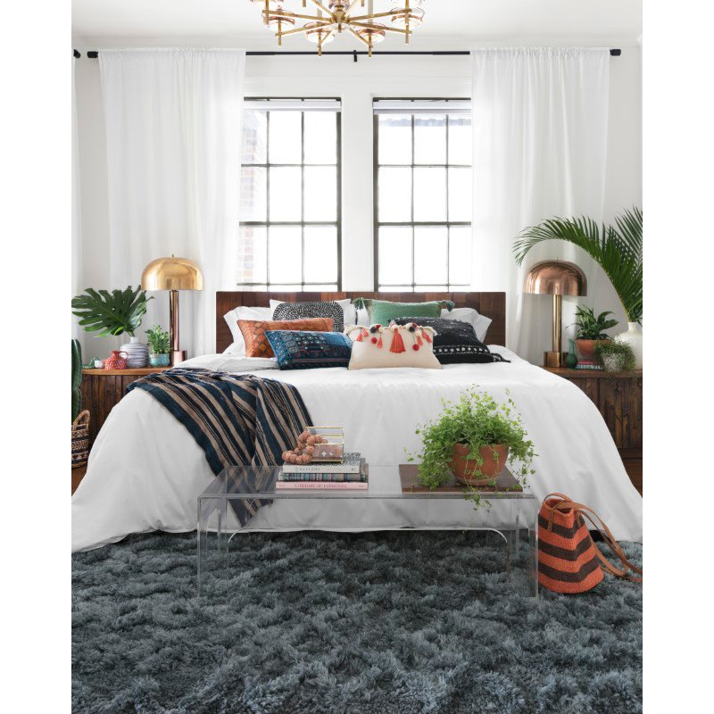 """Loloi x Justina Blakeney Collection CAP-04 Caspia Shags 1' 6"""" x 1' 6"""" Sample Swatch Square Rug in Teal (CAPPCAP-04TE00160S)"""