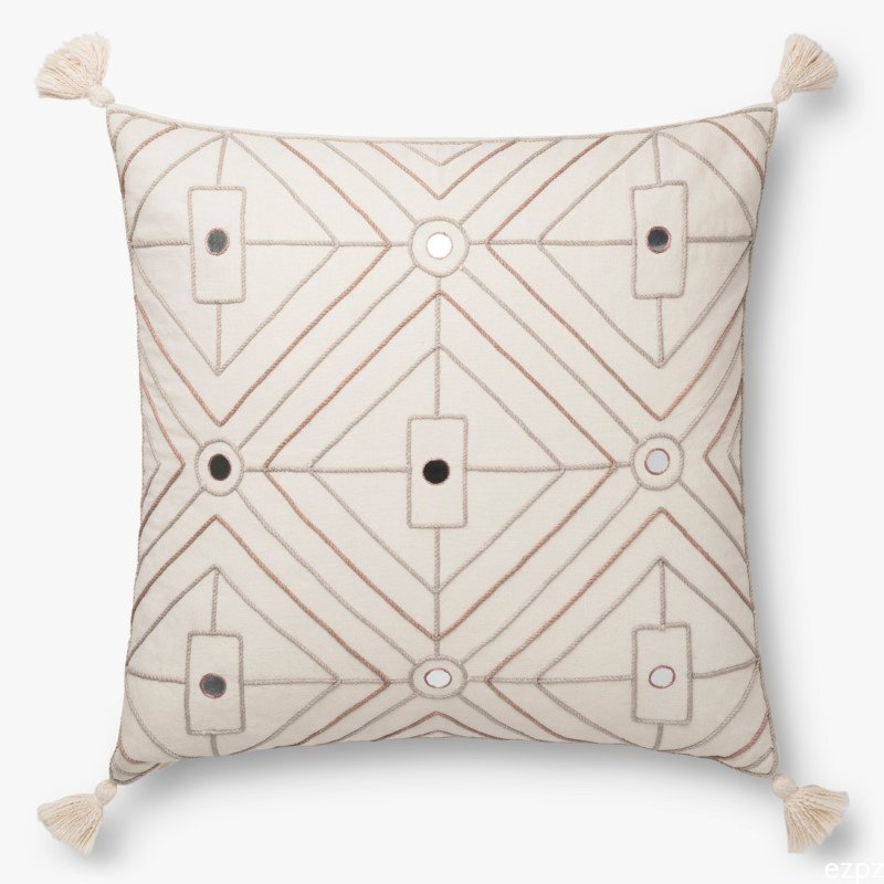 "Loloi x Justina Blakeney Collection P0773 Pillow 22"" x 22"" Cover with Poly in Natural (PSETP0773NA00PIL3)"